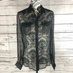 Diesel Sheer Patterned Button Down Blouse XS